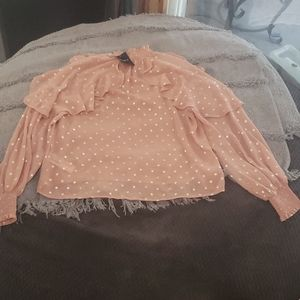 NWT FOREVER 21 blush pink long sleeve top sz M